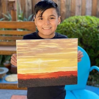 Axel finished a beautiful sunset painting! #oilpainting #sunsetpainting