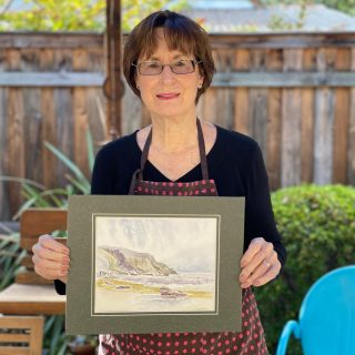 Here's Pat with her painting! #watercolor #ocean
