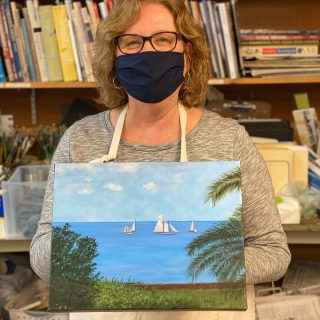 Pam finished her pretty painting! #oilpainting