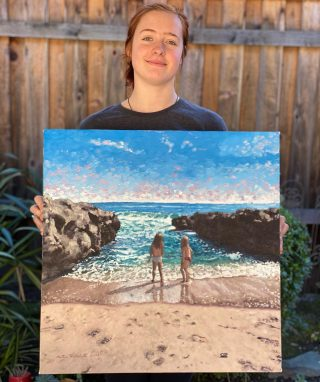 Mattie finished another beautiful painting!! #oilpaintings #ocean #beach