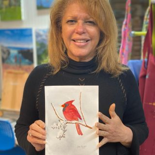 Lisa finished a beautiful watercolor! #watercolor #cardinals
