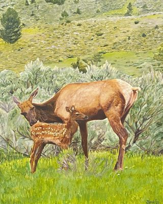 Up close of Sonia's painting! #oilpainting #elk